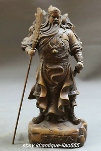 9 8 Antique China Bronze Dragon Warrior God Guan Gong Yu Hold Sword Stand Statue