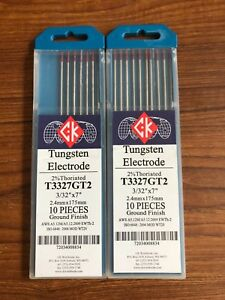 Two 2 Packs Ck Worldwide 2 Thoriated T3327gt2 Tungsten Electrode 3 32 10 pkg