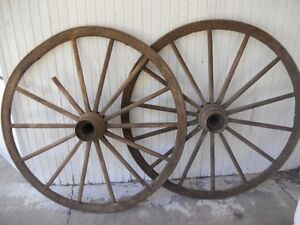 Pair Of Antique 56 Wooden Wagon Wheels 14 Spoke