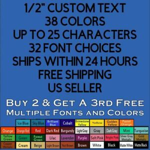 Custom 1 2 Inch 5 Text Vinyl Decal Sticker Personalized Lettering Window Car