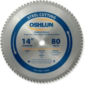 80 Tooth Tcg Saw Blade 14 inch With 1 Arbor For Mild Steel Cold Chop Cut Tool