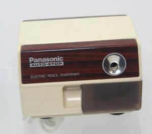 Vtg Panasonic Electric Pencil Sharpener W Auto Stop Kp 110 Beige Wood Grain