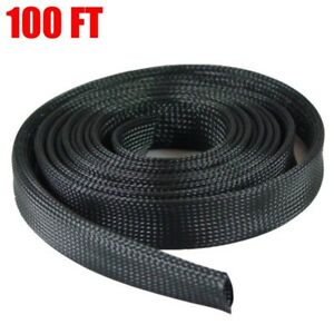 100ft 2 Expandable Braided Wire Cable Sleeving Sheathing Wrap Organizer Black