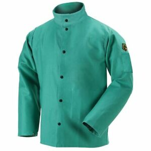 Revco Flame resistant Cotton Welding Jacket Green small