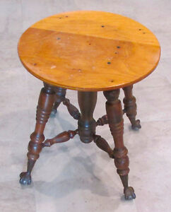 Vintage Wood Clawfoot Ball Round Swivel Vanity Piano Bar Small Stool Seat Chair