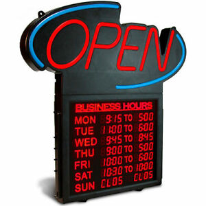 U S Stamp Sign Led Open Sign W digital Business Hours 20 1 2 X 1 1 4 X 23 1