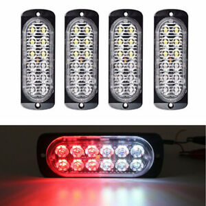 4x 12led Light Flash Emergency Car Vehicle Warning Strobe Flashing Red White