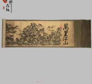 Old Chinese Silk Paper Painting Vast Territory Landscape Scroll Painting