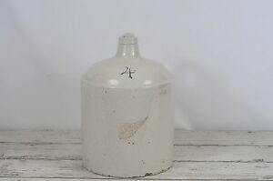 Antique 4 Gallon Red Wing Shoulder Stoneware Jug No Oval Pottery Zinc Glazed