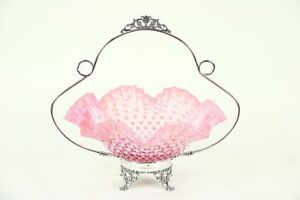 Victorian Antique Bride Basket Signed Silverplate Cranberry Glass 28886