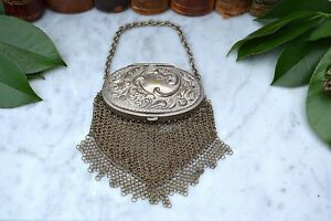 Antique French Chatelaine Miser Coin Pouch Purse Silver Compact Top Chain Metal