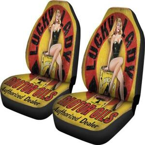 Lucky Lady Motor Oil Car Seat Covers Vintage Pinup Sexy Girl Set Of 2 Free Post
