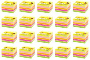 4a Sticky Note Cube 3 X 3 Memo Reminder Neon Assorted 20 Packs Total 8000 Sheets