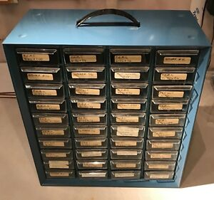 Akro Mills Lot 40 Drawer Vtg Steelmaster Metal Cabinet Industrial Parts Bin