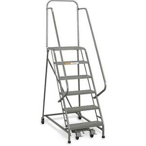 Ega L056 Industrial Rolling Ladder 9 step 26 Wide Perforated Gray 450lb
