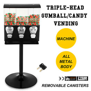 Triple Bulk Candy Vending Machine Metal pc W 3 Canisters With Keys Great