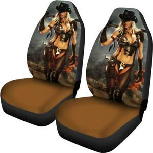 Sexy Cowgirl Rodeo Car Seat Covers Hot Blonde Girl Whip Chaps Fast Shipping