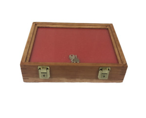 Cherry Wood Display Case 9 X 12 X 3 For Arrowheads Knifes Collectibles