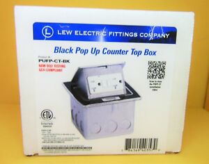 Lew Electric Pufp ct bk Countertop Box Pop Up W 20a Gfi Receptacle Black New