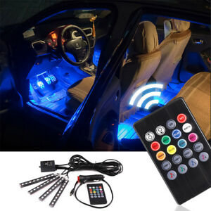 4x 9 Led 8 Color Rgb Strips Sound Remote Control Activated Car Interior Lights