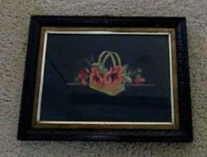 Antique Victorian Hand Embroidered Framed Picture Floral Themed