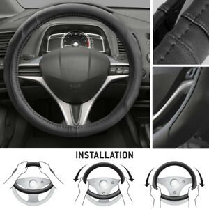 Motor Trend Leatherette Steering Wheel Cover For Honda Civic 2007 12 Black