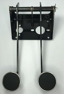 Universal Clutch Brake Firewall Mount Pedal Assembly Stainless Round Pedals