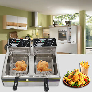 5000w Electric Countertop Deep Fryer Dual Tank Commercial Restaurant W Baskets