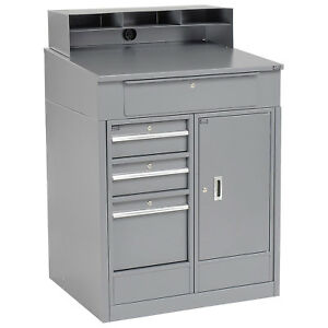 Shop Desk With 4 Drawers And Cabinet 34 1 2 w X 30 d X 51 1 2 h Gray Lot Of 1