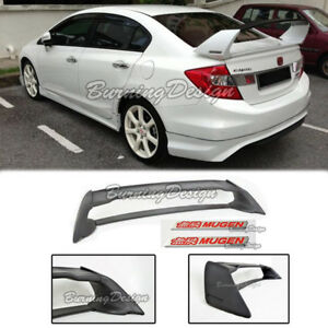 Rear Trunk Spoiler For 06 11 Honda Civic Sedan Fd2 Fa2 Mugen Red Emblem Rr Abs