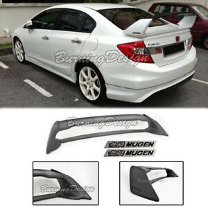 Rear Trunk Spoiler For 06 11 Honda Civic Sedan Fd2 Fa2 Mugen Black Emblem Rr Abs