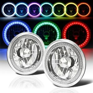 97 18 Jeep Wrangler Tj Jk 7 Rgb Multi Color Led Smd Halo Round Headlights