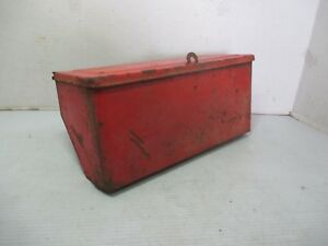 Vintage Red Painted Metal Tractor Tool Box Ford New Holland 11 X 4 5 X 5