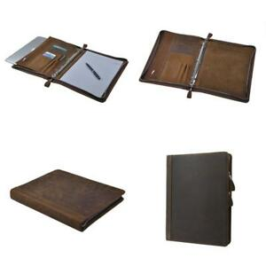 Rustic Leather Padfolio With 3 ring Binder For Letter A4 Paper 11 inch Macbook