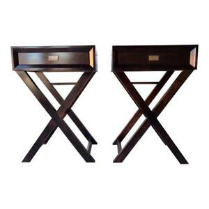Mid Century Style Modern Black End Tables A Pair