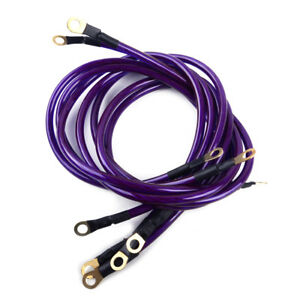 Professional 5 Point Car Grounding Wire Cable Earth System Kit Purple