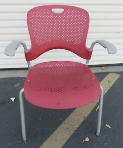 Herman Miller Caper Office Home Stacking Chair Red Ergonomic Wc410p Molded Seat