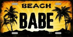 Beach Babe Sunset Background Novelty Vanity License Plate Tag Sign