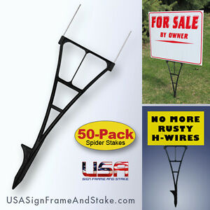 Outdoor Sign Stakes 50 pack High Density Plastic Corrugated Sign Holder