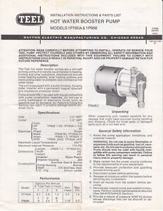 Nos Teel Hot Water Booster Pump Model 1p760a