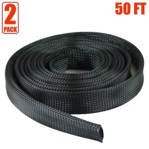 2x 50ft 1 Expandable Braided Cable Sleeve Wrap Wire Harnessing Sheathing Black