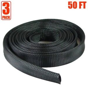 3x 50ft 1 Expandable Braided Cable Sleeve Wrap Wire Harnessing Sheathing Black