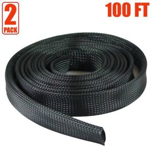 2x 100ft 1 Expandable Braided Cable Sleeve Wrap Wire Harnessing Sheathing Black