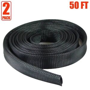 2x 50ft 2 Expandable Braided Cable Sleeve Wrap Wire Harnessing Sheathing Black
