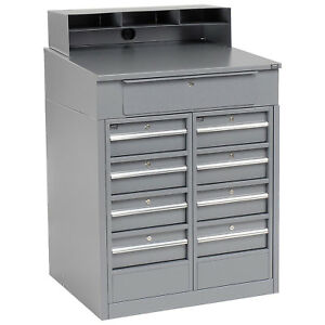 Shop Desk With 9 Drawers 34 1 2 w X 30 d X 51 1 2 h Gray Lot Of 1