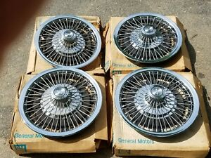 Vintage Nos 1967 Chevy Po2 N95 Camaro Chevelle Wire Spinner Hubcaps Wheel Covers