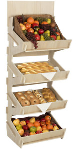 Wooden 4 Bin Retail Knock Down Display Stand