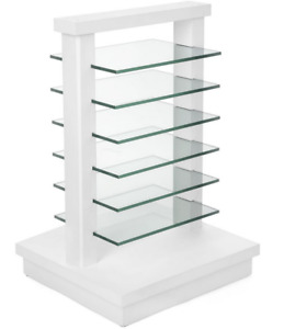 White Beech Wood Dual Post Glass Display Gondola W 6 Removable Shelves