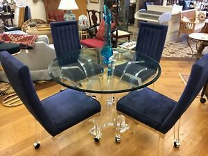 Rare Charles Hollis Jones Mid Century Modern Lucite Dining Room Set Table Chairs