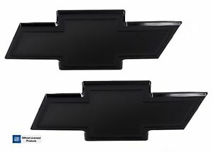 07 14 Chevy Tahoe Suburban Front Rear Combo Billet Bowtie Emblems Bordered Black